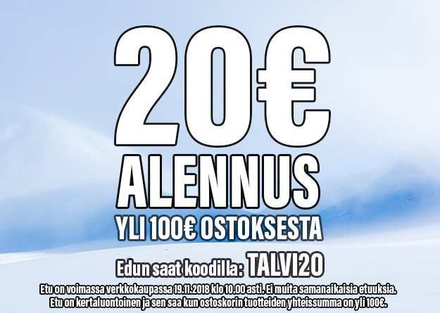 20€ alennus yli 100€ ostoksesta