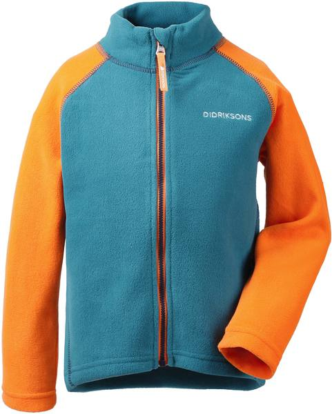 Didriksons Monte Kids Microfleece Jacket Glacier Blue / Bright Orange