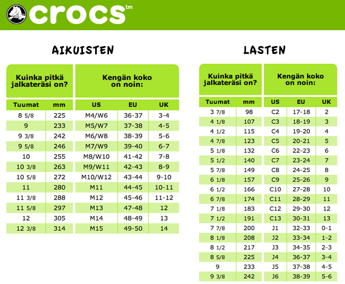 Crocs Kid Sizes Chart Kids